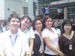 With colleagues